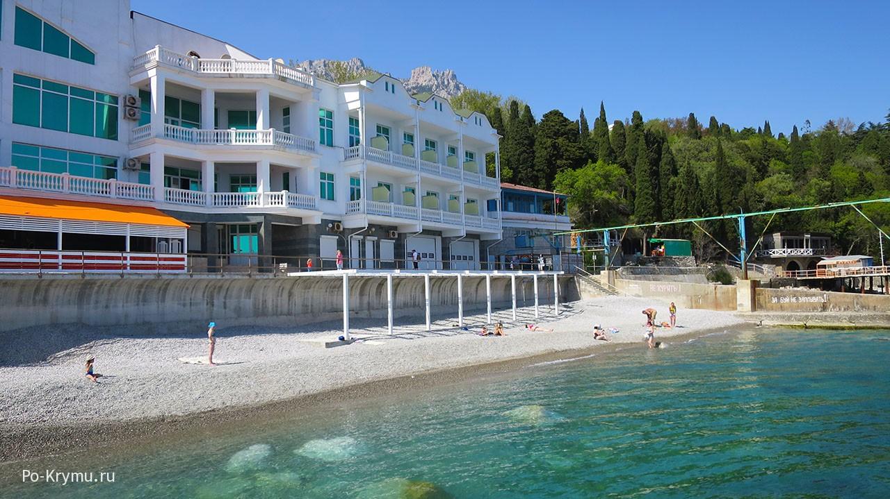Пансионат на берегу моря с небольшим пляжем