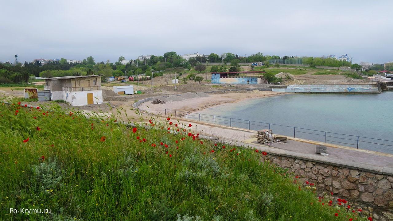 Реконструкция пляжа Солнечный в Севастополе.