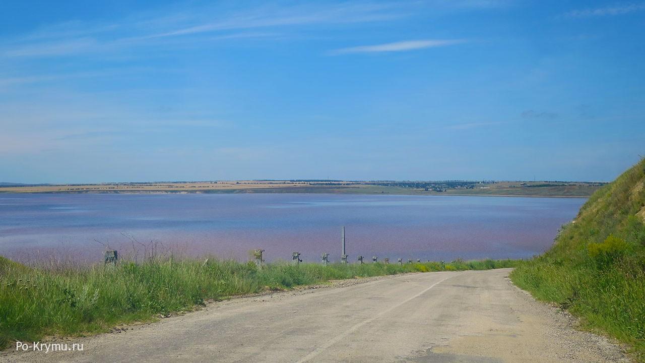 Дорога вдоль розового озера.