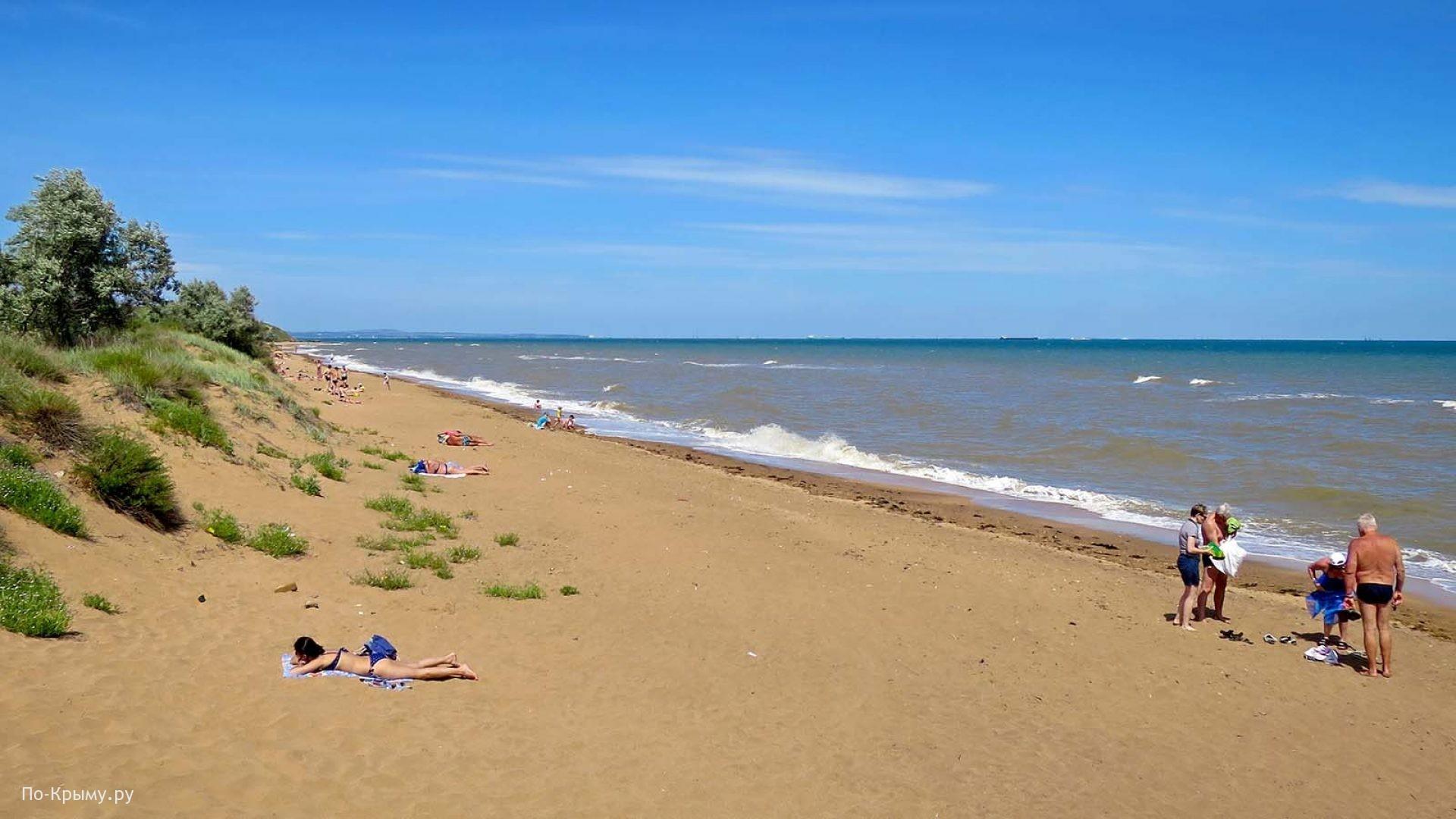Песчаный пляж в пригороде Керчи Героевское