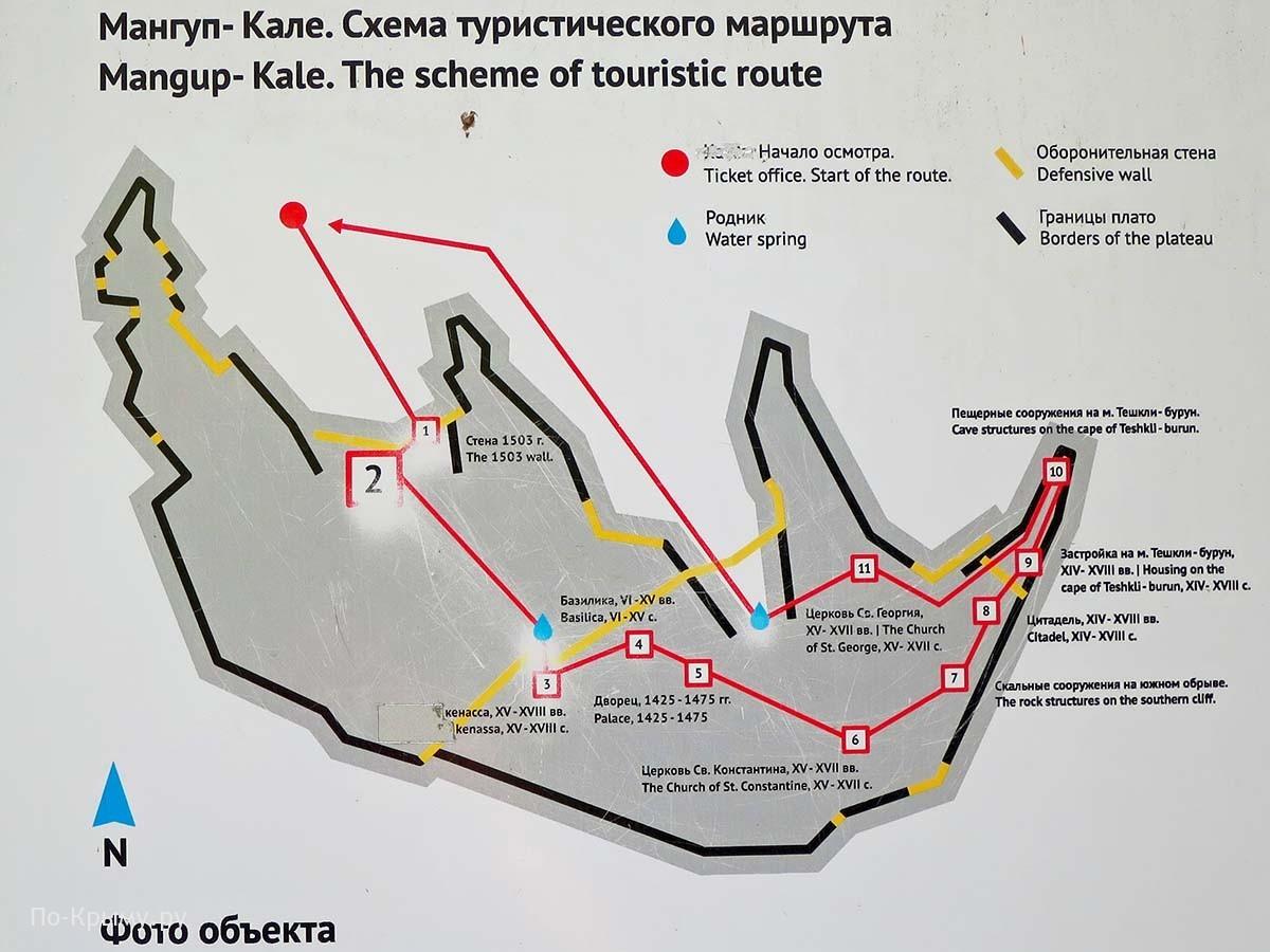 Схема туристического маршрута по куэстам