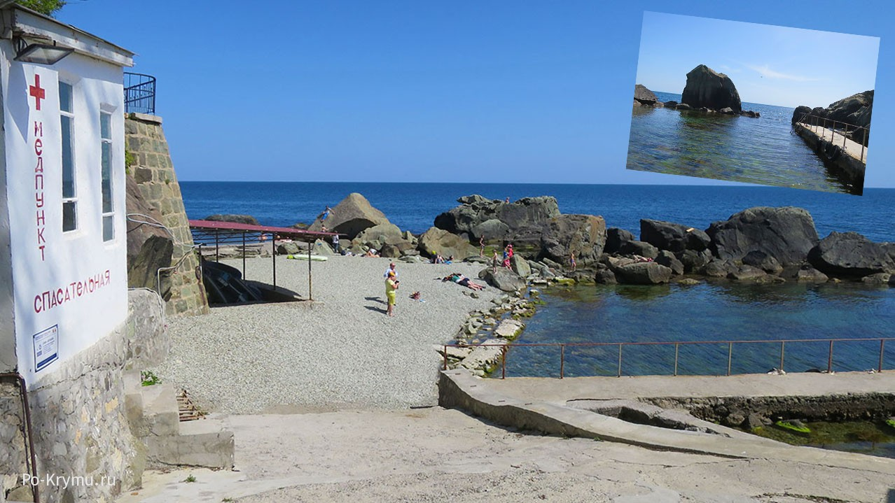 Спасательная станция, медпункт и вид на море.