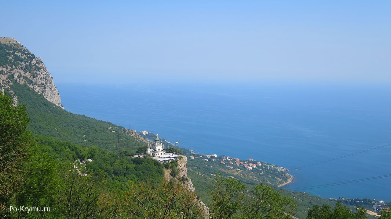 Вид на Южный берег Крыма со смотровой Байдарских ворот.