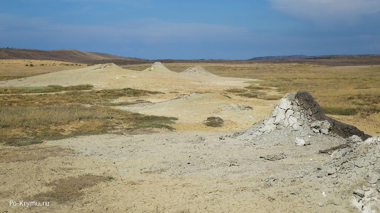 Действующие грязевые вулканы.