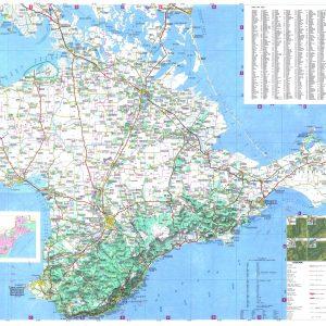 Подробная карта крымских дорог на украинском и английских языках