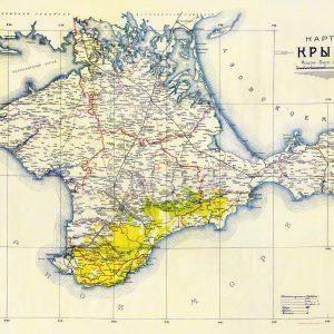 Старая карта Крыма за 1922 год