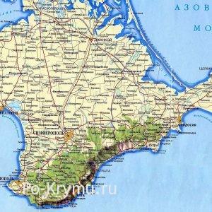 Географическая карта побережья Крыма