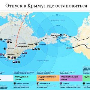 Схема лучших мест для отдыха на Крымском побережье