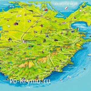 Карта рельефа Крымского полуострова