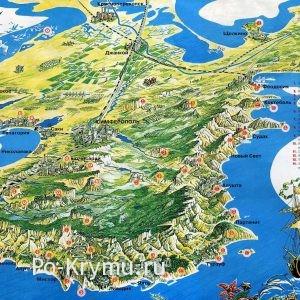 Пятьдесят восемь достопримечательностей Крыма на карте с описанием