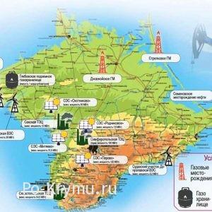 Месторождения и электростанции на карте Крымского полуострова