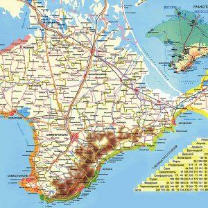 Карта схема дорог Крыма с расстояния между городами и поселками
