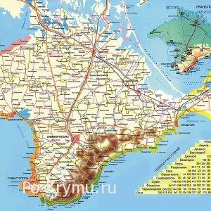 Расстояние между городами на карте Крыма.